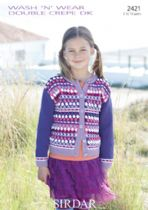 Sirdar Wash 'n Wear Double Crepe - 2421 Cardigan Knitting Pattern